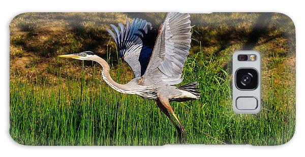 Blue Heron In Flight Galaxy Case by John Johnson