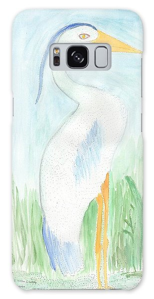Blue Heron In The Tules Galaxy Case by Helen Holden-Gladsky
