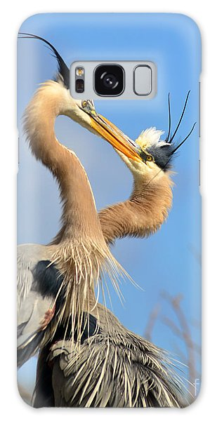 Blue Heron Love Galaxy Case by Jane Axman