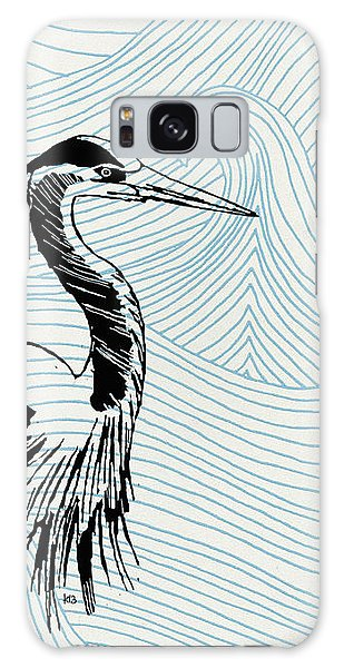 Blue Heron On Waves Galaxy Case