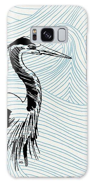 Blue Heron On Waves Galaxy Case
