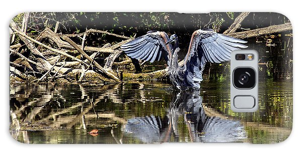 Blue Heron Stance Galaxy Case by David Lester