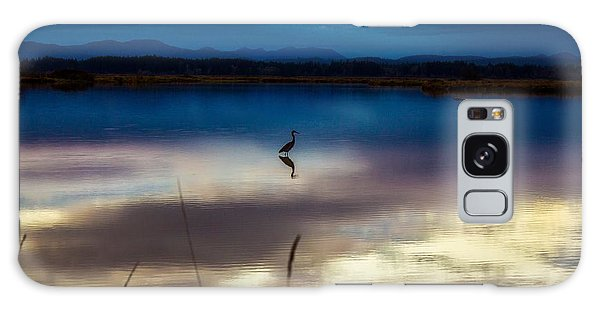 Blue Heron Sun Set Galaxy Case