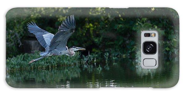 Blue Heron Take-off Galaxy Case by John Johnson