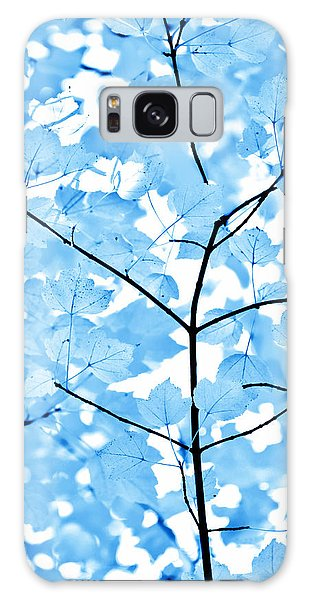 Plants Galaxy Case - Blue Leaves Melody by Jennie Marie Schell