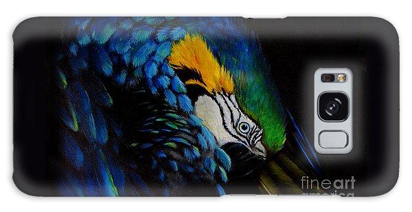Blue Macaw Galaxy Case by Nancy Bradley