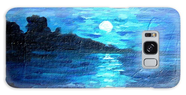 blue moon over lake couer da  lane Idaho Galaxy Case by Joseph Hawkins