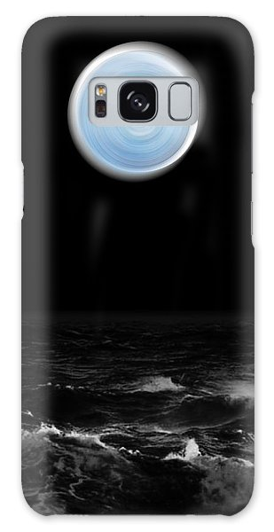 Blue Moon Over The Sea Galaxy Case