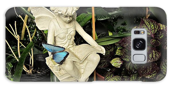 Blue Morpho On Statue Galaxy Case