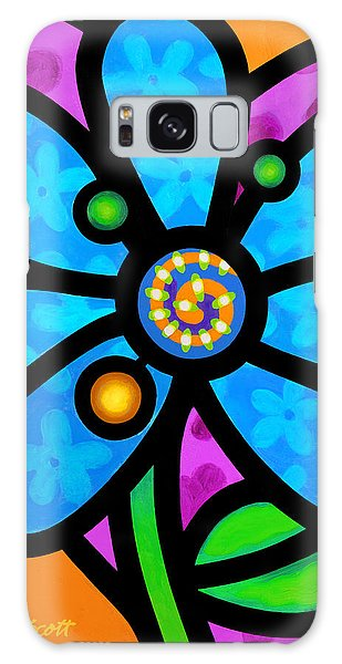 Blue Pinwheel Daisy Galaxy Case