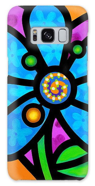 Blue Pinwheel Daisy Galaxy Case
