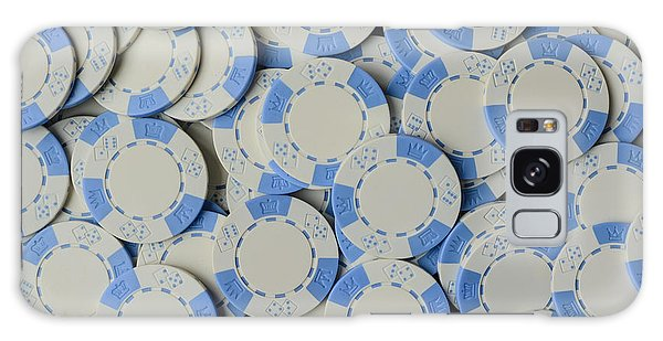 Blue Poker Chip Background Galaxy Case