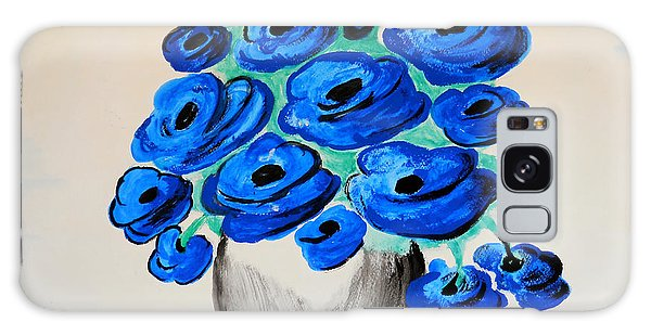 Blue Poppies Galaxy Case