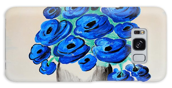 Blue Poppies Galaxy Case by Ramona Matei