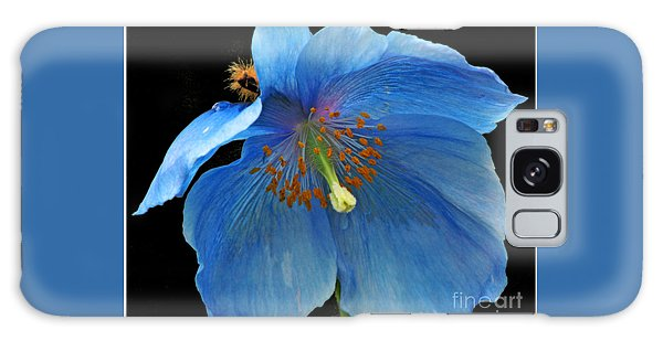 Blue Poppy On Black Galaxy Case