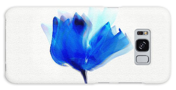 Blue Poppy Silouette Mixed Media  Galaxy Case
