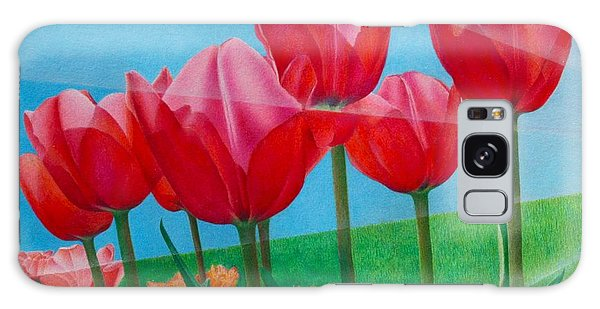 Blue Ray Tulips Galaxy Case by Pamela Clements