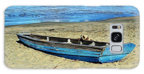 Blue Rowboat Galaxy Case by Holly Blunkall