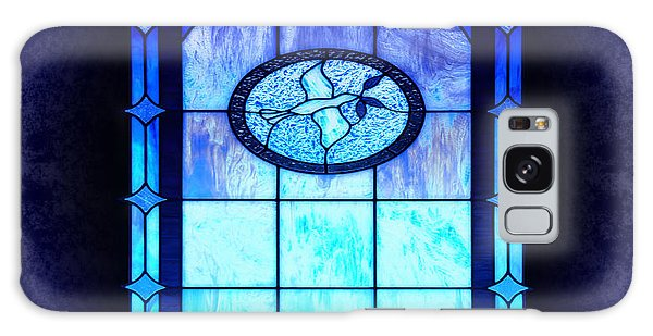Blue Stain Glass With Dove Galaxy Case by Eva Thomas