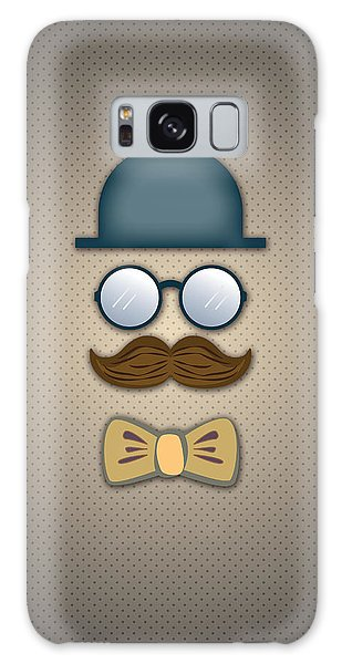 Galaxy Case - Blue Top Hat Moustache Glasses And Bow Tie by Ym Chin