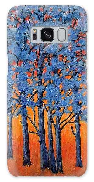 Blue Trees On A Hot Day Galaxy Case by Suzanne Theis