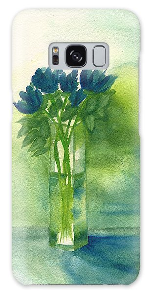 Blue Tulips In Glass Vase Galaxy Case