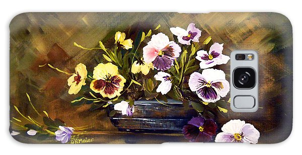 Blue Vase With Pansies Galaxy Case