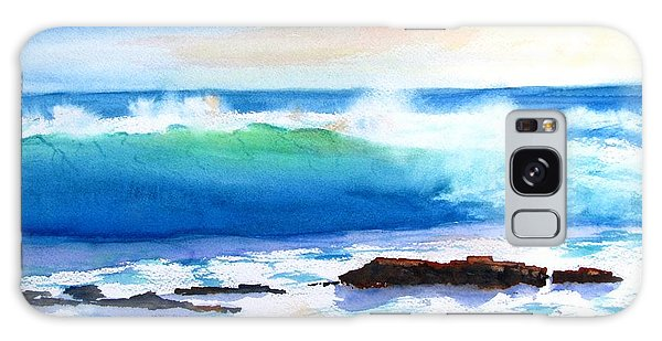 Blue Water Wave Crashing On Rocks Galaxy Case