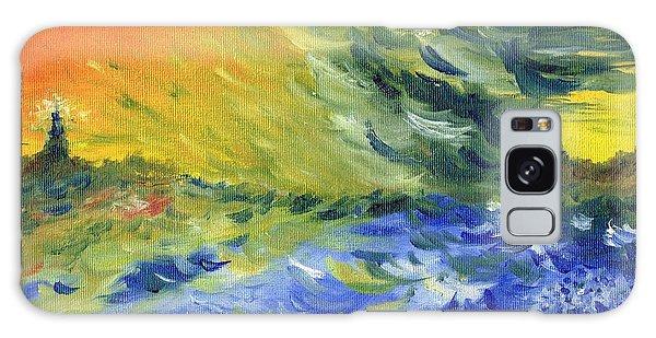 Blue Waves Galaxy Case by Teresa White
