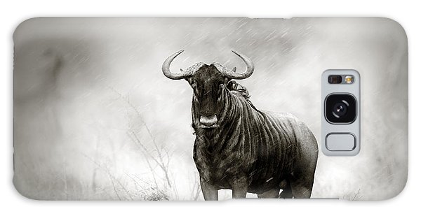 Storming Galaxy Case - Blue Wildebeest In Rainstorm by Johan Swanepoel