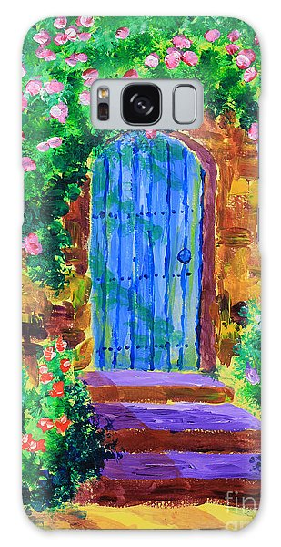 Blue Wooden Door To Secret Rose Garden Galaxy Case