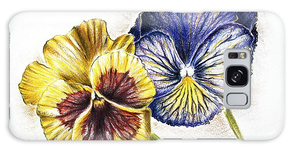 Blue Yellow Pansies Galaxy Case by Katharina Filus