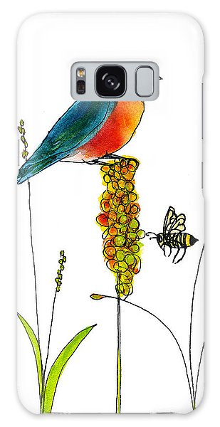 Bluebird Galaxy Case - Bluebird And Bee by Blenda Studio