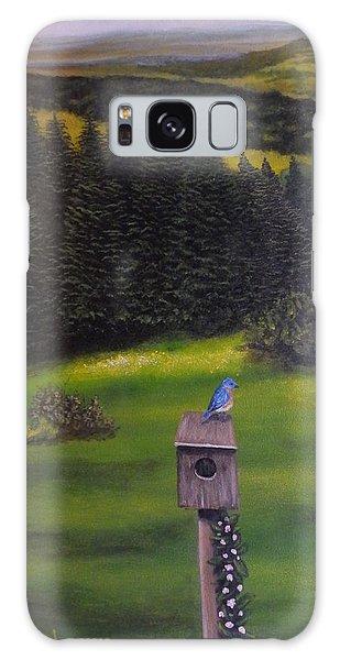 Bluebird On A Birdhouse Galaxy Case