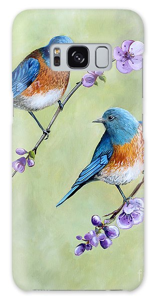 Bluebirds And Blossoms Galaxy Case by Debbie Hart