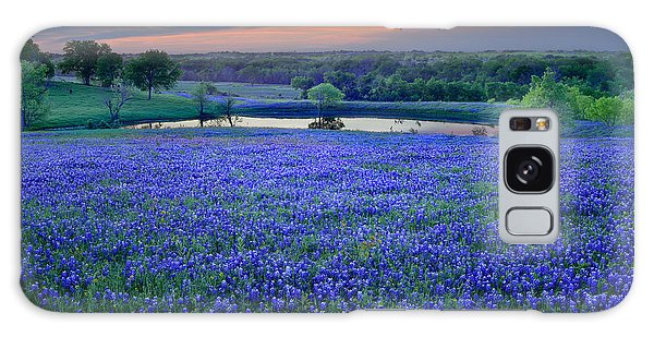 Bluebonnet Lake Vista Texas Sunset - Wildflowers Landscape Flowers Pond Galaxy Case by Jon Holiday