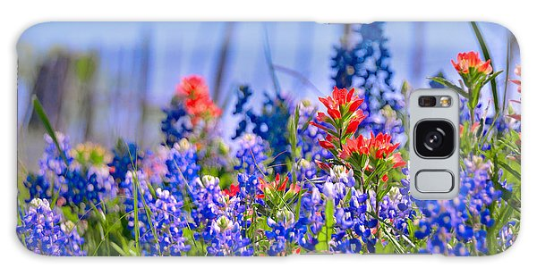 Bluebonnet Paintbrush Texas  - Wildflowers Landscape Flowers Fence  Galaxy Case by Jon Holiday
