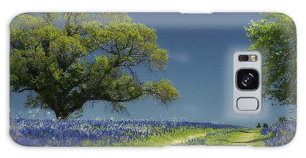Bluebonnets Road Trees Galaxy Case