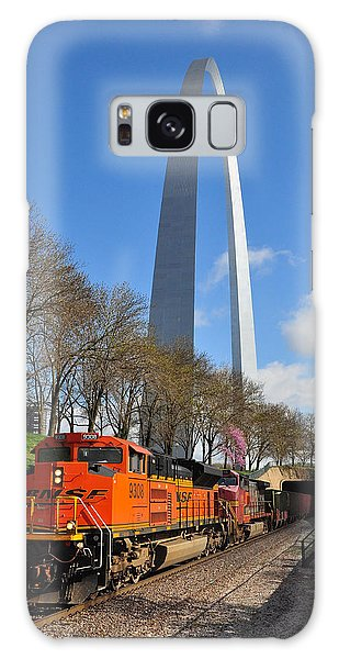 Galaxy Case featuring the photograph Bnsf Ore Train And St. Louis Gateway Arch by Matthew Chapman