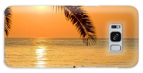 Boat At Sea Sunset Golden Color With Palm Galaxy Case