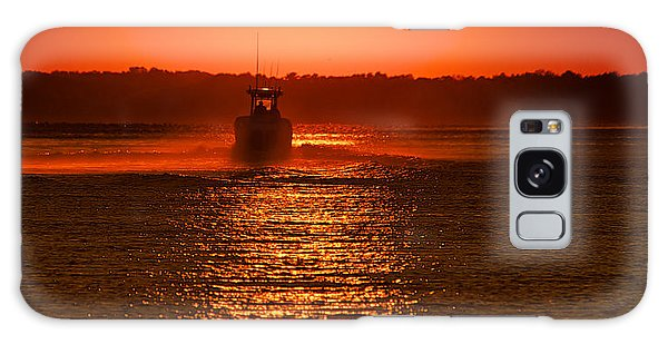 Boat At Sunset Galaxy Case