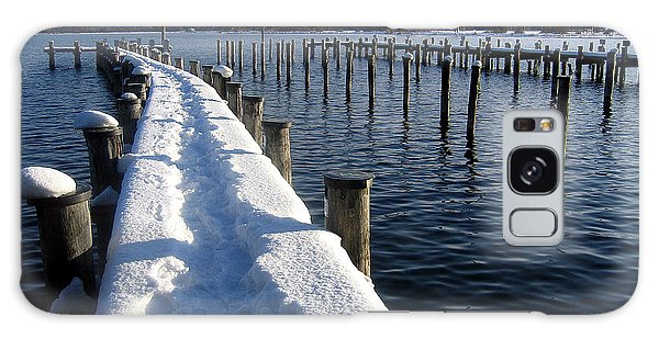 boat harbour at Lake Chiemsee in winter Galaxy Case