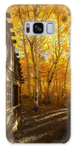 Boat House Among The Autumn Leaves  Galaxy Case
