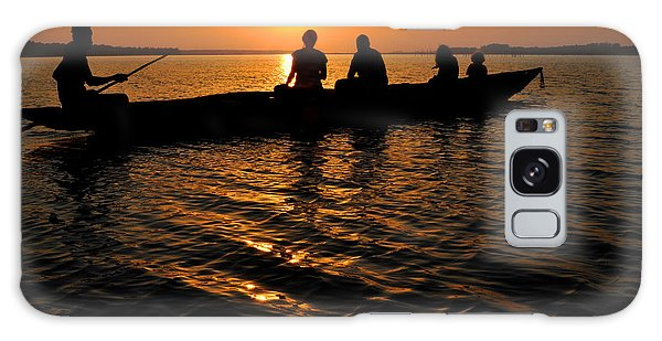Boat In Sunset On Chilika Lake India Galaxy Case by Diane Lent