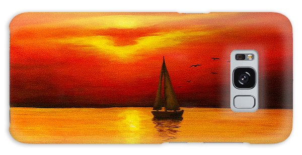 Boat In The Sunset Galaxy Case