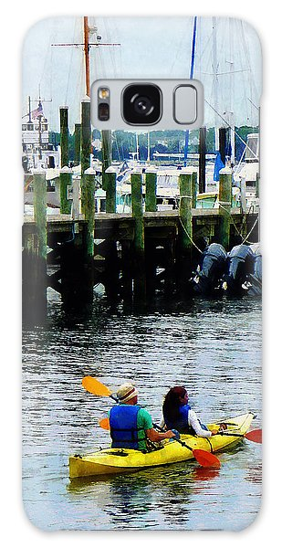 Boat - Kayaking In Newport Ri Galaxy Case by Susan Savad