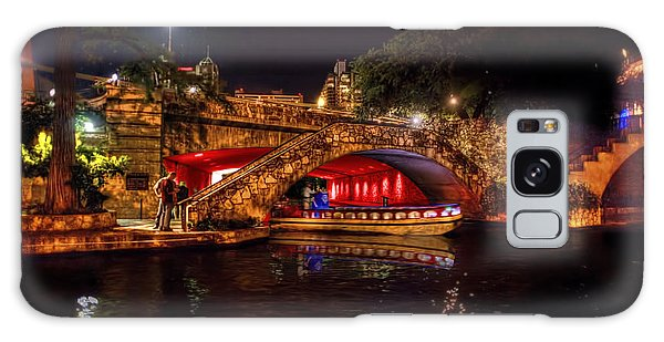Galaxy Case featuring the photograph Boat On Canal Riverwalk San Antonio At Night by Dan Friend