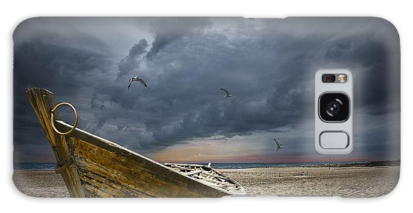 Boat With Gulls On The Beach With Oncoming Storm Galaxy Case