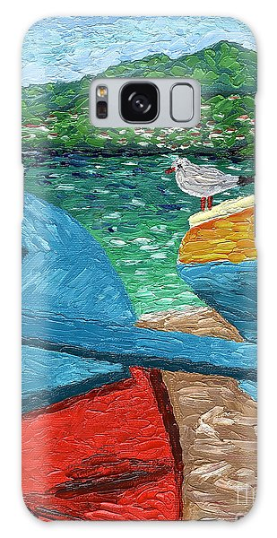 Boats And Bird At Rest Galaxy Case by Laura Forde