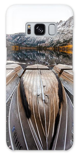 Boats At Mountain Lake In Autumn Fine Art Photograph Print Galaxy Case